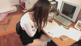 Beautiful Asian girl gets pleasantly fucked in the office