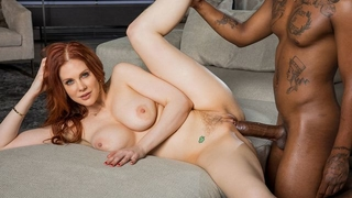 Gorgeous redhead woman with big honkers serves big black cock