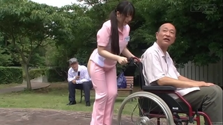 Subtitled extraordinary japanese half undressed caregiver outdoors
