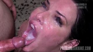 Premium bukkake - veronica avluv swallows 61 massive mouthful cumshots