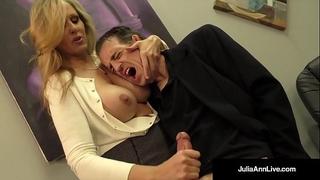 Busty blond milf julia ann milks cum from rock hard jock!