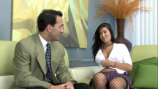 London screwed on a daybed in fishnet nylons