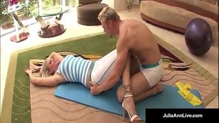 Julia ann bangs yoga instructor & acquires a load on her marangos!