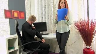 Secretary sucks the boss penis for some cum