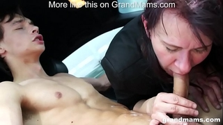 Granny vicky excited to engulf knob in parking lot grandmams.com